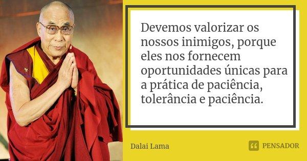 Devemos valorizar os nossos inimigos, porque eles nos fornecem oportunidades únicas para a prática de paciência, tolerância e paciência.... Frase de Dalai Lama.