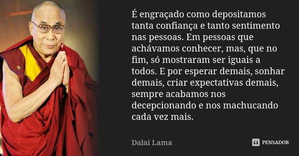 É engraçado como depositamos tanta confiança e tanto sentimento nas pessoas. Em pessoas que achávamos conhecer, mas, que no fim, só mostraram ser iguais a todos... Frase de Dalai Lama.