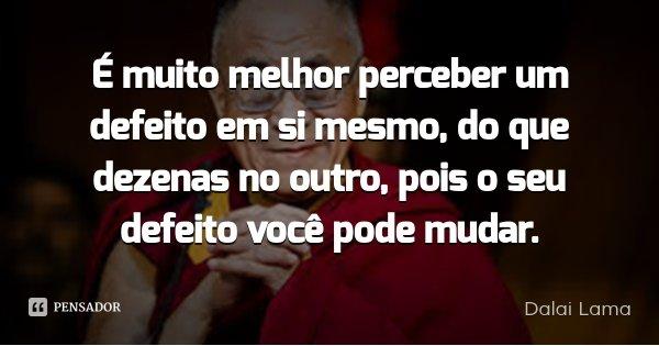 É muito melhor perceber um defeito em si mesmo, do que dezenas no outro, pois o seu defeito você pode mudar.... Frase de Dalai Lama.