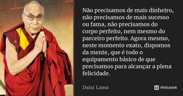 Não precisamos de mais dinheiro, não precisamos de mais sucesso ou fama, não precisamos do corpo perfeito, nem mesmo do parceiro perfeito. Agora mesmo, neste mo... Frase de Dalai Lama.