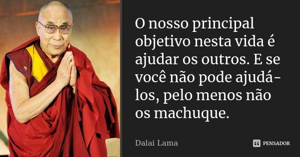 O nosso principal objetivo nesta vida é ajudar os outros. E se você não pode ajudá-los, pelo menos não os machuque.... Frase de Dalai Lama.
