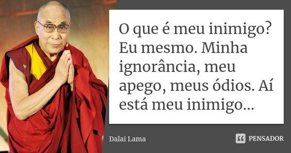 O que é meu inimigo? Eu mesmo. Minha ignorância, meu apego, meus ódios. Aí está meu inimigo...... Frase de Dalai Lama.