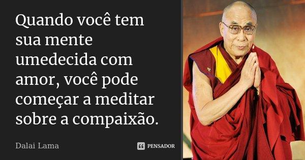 Quando você tem sua mente umedecida com amor, você pode começar a meditar sobre a compaixão.... Frase de Dalai Lama.