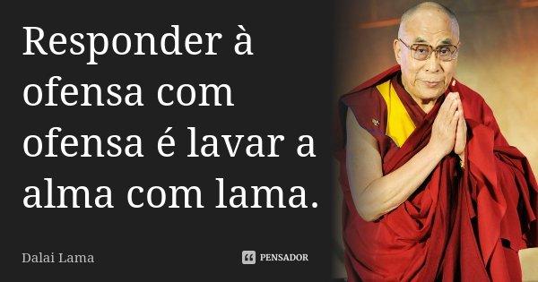Responder à ofensa com ofensa é lavar a alma com lama.... Frase de Dalai Lama.