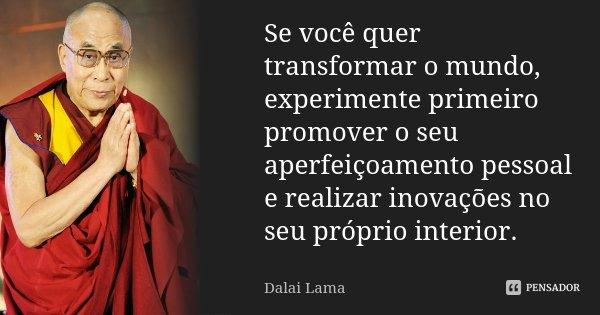 Se você quer transformar o mundo, experimente primeiro promover o seu aperfeiçoamento pessoal e realizar inovações no seu próprio interior.... Frase de Dalai Lama.