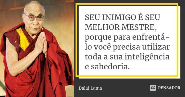SEU INIMIGO É SEU MELHOR MESTRE, porque para enfrentá-lo você precisa utilizar toda a sua inteligência e sabedoria.... Frase de Dalai Lama.