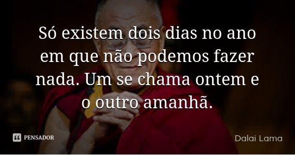 Só existem dois dias no ano em que não podemos fazer nada. Um se chama ontem e o outro amanhã.... Frase de Dalai Lama.