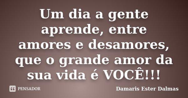 Um dia a gente aprende, entre amores e desamores, que o grande amor da sua vida é VOCÊ!!!... Frase de Damaris Ester Dalmas.