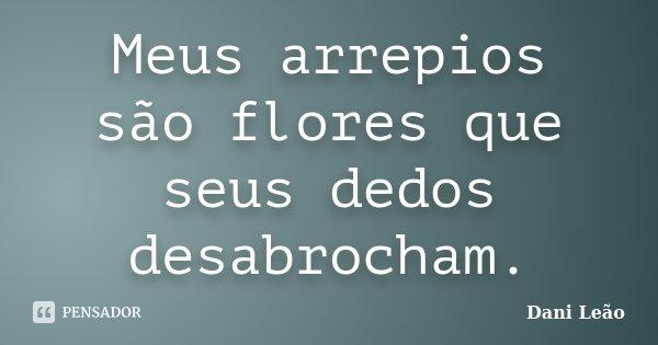 Meus arrepios são flores que seus dedos desabrocham.... Frase de Dani Leão.