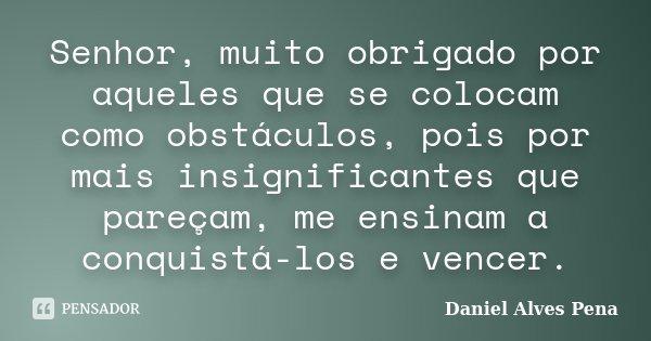 Senhor, muito obrigado por aqueles que se colocam como obstáculos, pois por mais insignificantes que pareçam, me ensinam a conquistá-los e vencer.... Frase de Daniel Alves Pena.