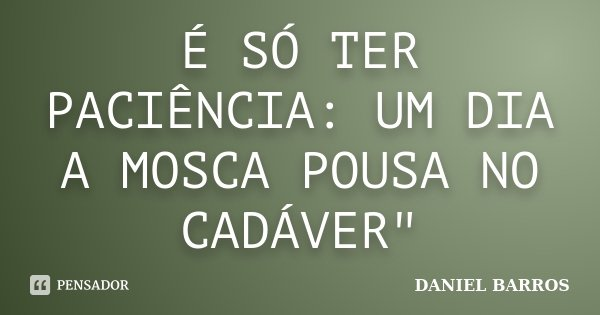 """É SÓ TER PACIÊNCIA: UM DIA A MOSCA POUSA NO CADÁVER""""... Frase de DANIEL BARROS."""