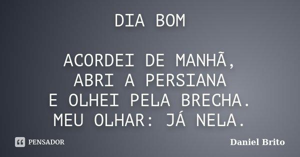 DIA BOM ACORDEI DE MANHÃ, ABRI A PERSIANA E OLHEI PELA BRECHA. MEU OLHAR: JÁ NELA.... Frase de Daniel Brito.