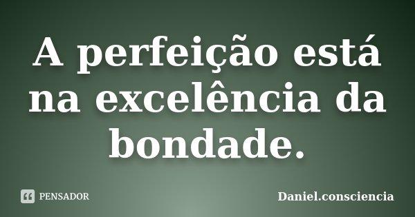 A perfeição está na excelência da bondade.... Frase de Daniel.consciencia.