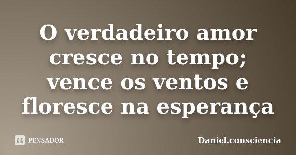 O verdadeiro amor cresce no tempo; vence os ventos e floresce na esperança... Frase de Daniel.consciencia.
