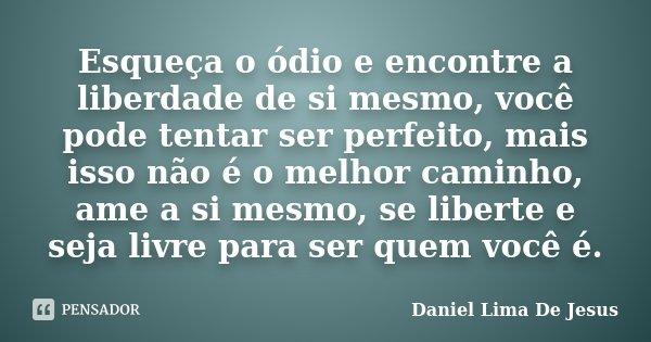 Esqueça o ódio e encontre a liberdade de si mesmo, você pode tentar ser perfeito, mais isso não é o melhor caminho, ame a si mesmo, se liberte e seja livre para... Frase de Daniel Lima De Jesus.