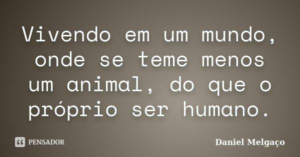 Vivendo em um mundo, onde se teme menos um animal, do que o próprio ser humano.... Frase de Daniel Melgaço.