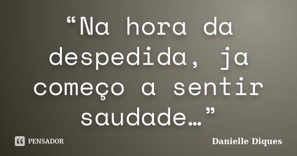 """""""Na hora da despedida, ja começo a sentir saudade…""""... Frase de Danielle Diques."""
