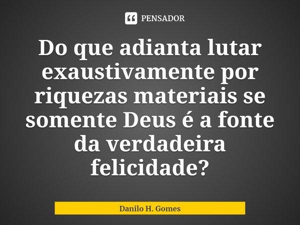 Do que adianta lutar exaustivamente por riquezas materiais se somente Deus é a fonte da verdadeira felicidade?... Frase de Danilo H. Gomes.