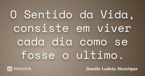 O Sentido da Vida, consiste em viver cada dia como se fosse o ultimo.... Frase de Danilo Ladeia Henrique.