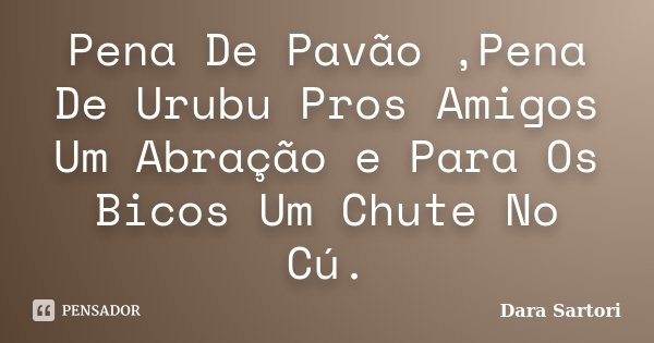 Pena De Pavão ,Pena De Urubu Pros Amigos Um Abração e Para Os Bicos Um Chute No Cú.... Frase de Dara Sartori.