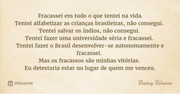 Fracassei em tudo o que tentei na vida. Tentei alfabetizar as crianças brasileiras, não consegui. Tentei salvar os índios, não consegui. Tentei fazer uma univer... Frase de Darcy Ribeiro.