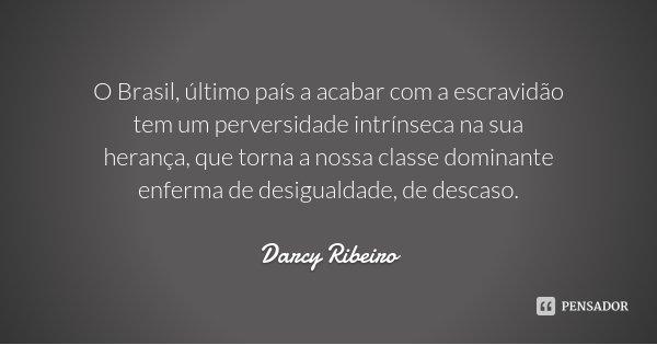 O Brasil, último país a acabar com a escravidão tem um perversidade intrínseca na sua herança, que torna a nossa classe dominante enferma de desigualdade, de de... Frase de Darcy Ribeiro.