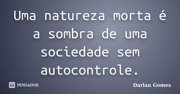 Uma natureza morta é a sombra de uma sociedade sem autocontrole.... Frase de Darlan Gomes.