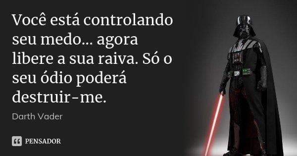 Você está controlando seu medo... agora libere a sua raiva. Só o seu ódio poderá destruir-me.... Frase de Darth Vader.