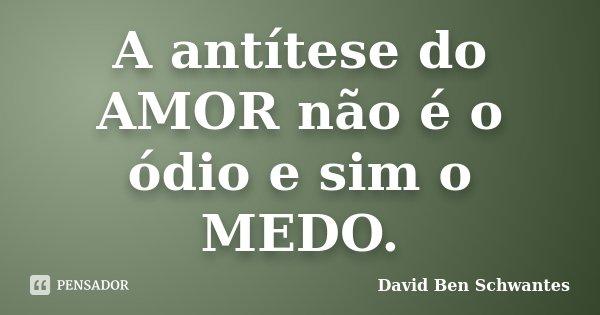 A antítese do AMOR não é o ódio e sim o MEDO.... Frase de David Ben Schwantes.