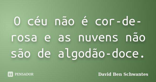 O céu não é cor-de-rosa e as nuvens não são de algodão-doce.... Frase de David Ben Schwantes.