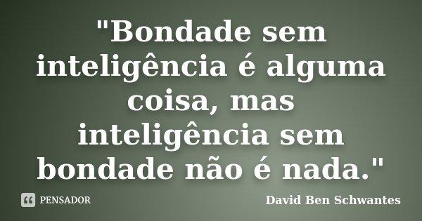 """""""Bondade sem inteligência é alguma coisa, mas inteligência sem bondade não é nada.""""... Frase de David Ben Schwantes."""