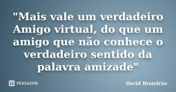 """""""Mais vale um verdadeiro Amigo virtual, do que um amigo que não conhece o verdadeiro sentido da palavra amizade""""... Frase de David Brandrão."""
