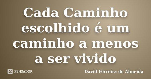 Cada Caminho escolhido é um caminho a menos a ser vivido... Frase de David Ferreira de Almeida.