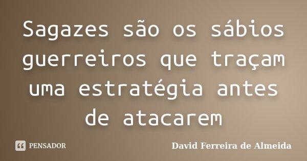 Sagazes são os sábios guerreiros que traçam uma estratégia antes de atacarem... Frase de David Ferreira de Almeida.