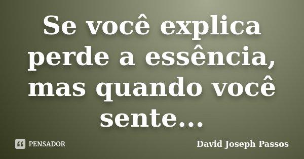 Se você explica perde a essência, mas quando você sente...... Frase de David Joseph Passos.