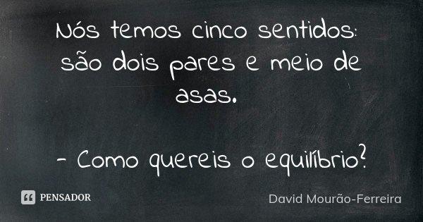 Nós temos cinco sentidos: são dois pares e meio de asas. - Como quereis o equilíbrio?... Frase de David Mourão-Ferreira.