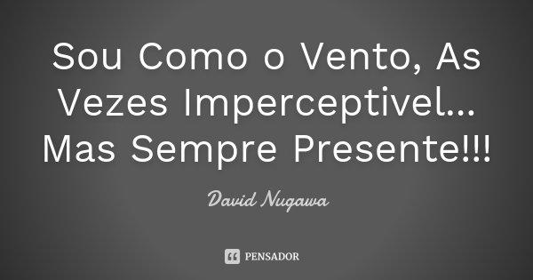 Sou Como o Vento, As Vezes Imperceptivel... Mas Sempre Presente!!!... Frase de David Nugawa.