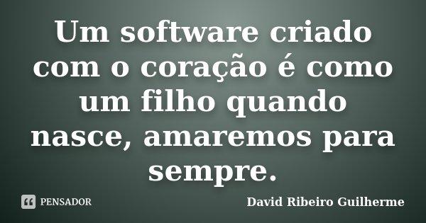Um software criado com o coração é como um filho quando nasce, amaremos para sempre.... Frase de David Ribeiro Guilherme.