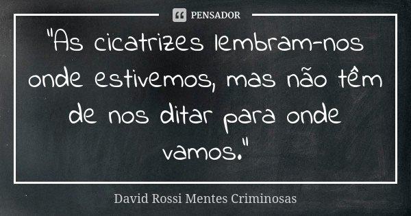 """""""As cicatrizes lembram-nos onde estivemos, mas não têm de nos ditar para onde vamos.""""... Frase de David Rossi Mentes Criminosas."""