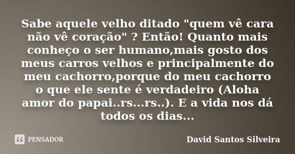 Sabe Aquele Velho Ditado Quem Vê David Santos Silveira