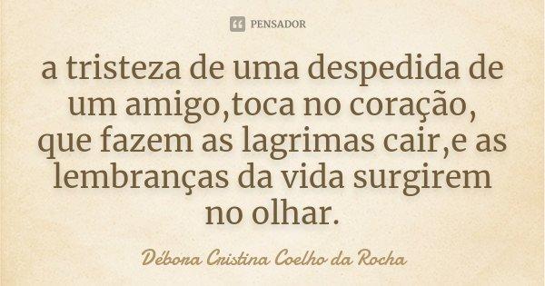 a tristeza de uma despedida de um amigo,toca no coração, que fazem as lagrimas cair,e as lembranças da vida surgirem no olhar.... Frase de Débora Cristina Coelho da Rocha.