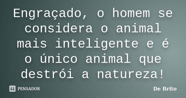 Engraçado, o homem se considera o animal mais inteligente e é o único animal que destrói a Natureza!... Frase de De Brito.