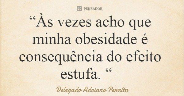 """""""Às vezes acho que minha obesidade é consequência do efeito estufa. """"... Frase de Delegado Adriano Peralta."""