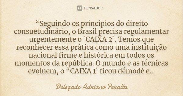 """""""Seguindo os princípios do direito consuetudinário, o Brasil precisa regulamentar urgentemente o `CAIXA 2`. Temos que reconhecer essa prática como uma instituiç... Frase de Delegado Adriano Peralta."""
