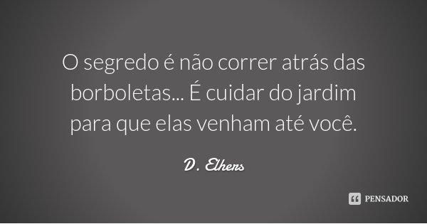 D. Elhers: O Segredo é Não Correr Atrás Das Borbole