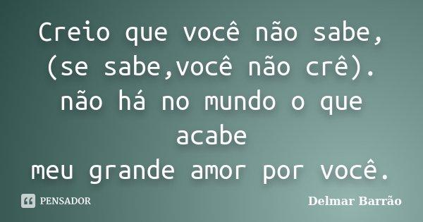Creio que você não sabe, (se sabe,você não crê). não há no mundo o que acabe meu grande amor por você.... Frase de Delmar Barrão.