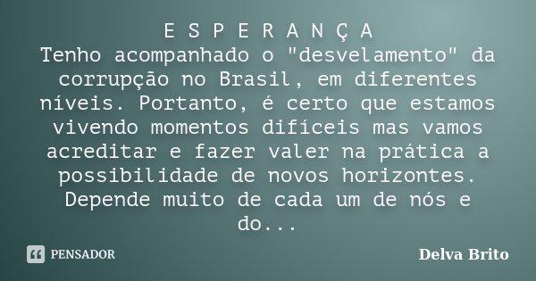 """E S P E R A N Ç A Tenho acompanhado o """"desvelamento"""" da corrupção no Brasil, em diferentes níveis. Portanto, é certo que estamos vivendo momentos difí... Frase de Delva Brito."""