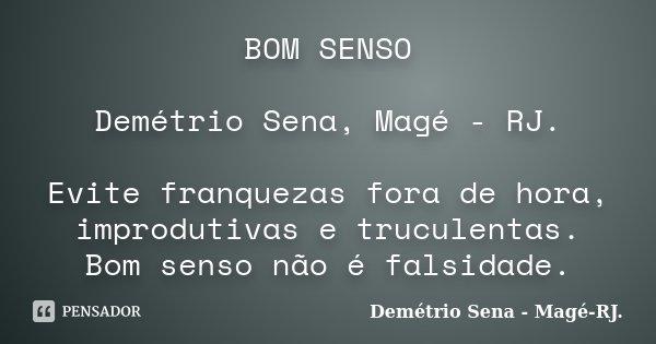 BOM SENSO Demétrio Sena, Magé - RJ. Evite franquezas fora de hora, improdutivas e truculentas. Bom senso não é falsidade.... Frase de Demétrio Sena, Magé - RJ..