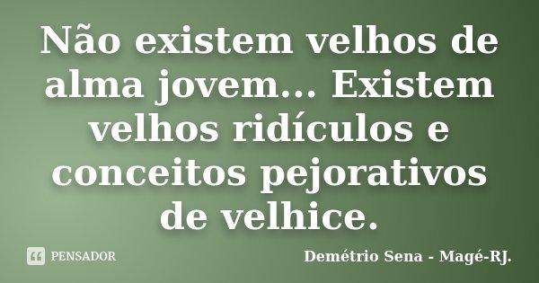 Não existem velhos de alma jovem... Existem velhos ridículos e conceitos pejorativos de velhice.... Frase de Demétrio Sena - Magé - RJ..