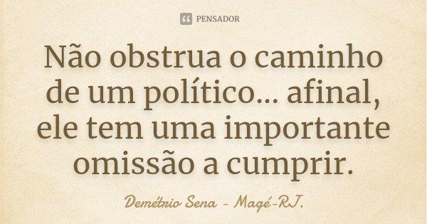 Não obstrua o caminho de um político... afinal, ele tem uma importante omissão a cumprir.... Frase de Demétrio Sena - Magé-RJ..